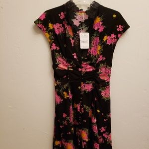 Free People black floral dress NWT $128.00 sz 2